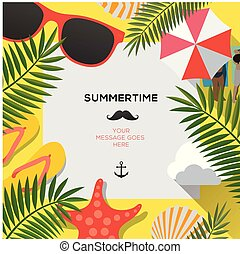 夏天, illustration., 背景, 旗幟, 背景。, 矢量, 网, 樣板, 黨, 假期, 海灘, 你好