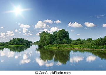 夏天, river.