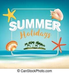 夏季休暇, 上に, 浜, 光景, ポスター