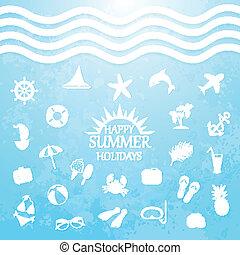 夏季休暇, 幸せ, 海, アイコン
