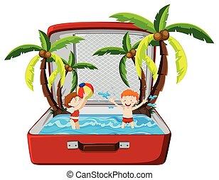 夏季休暇, 浜, スーツケース