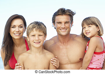 夏季休暇, 浜, 家族の 肖像画