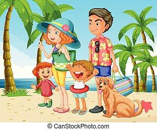 夏季休暇, 浜, 家族