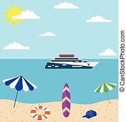 夏季休暇, 浜, 海