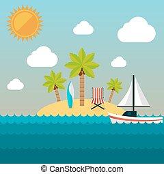 夏季休暇, illustration., 島