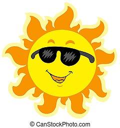 夏, かわいい, サングラス, 太陽