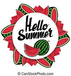 夏, こんにちは, スイカ, デザイン, 旗, ラウンド