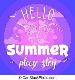 夏, どうか, 滞在, フライヤ, パーティー, こんにちは
