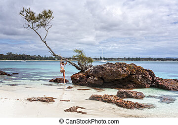 夏, のどかな, 休暇, 時, 女性, 楽しみ, 浜
