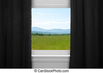 夏, の後ろ, 黒, 風景, カーテン
