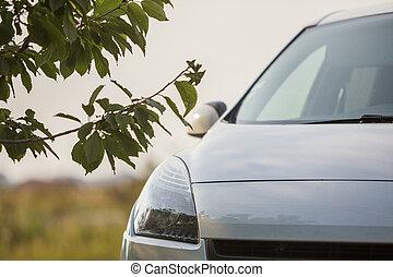 夏, ぼんやりさせられた, 駐車される, 青, スペース, 空, 細部, フィールド, 新しい, 日当たりが良い, 贅沢, バックグラウンド。, 前部, コピー, 銀, クローズアップ, 自動車, ゆとり, 緑の草, 光沢がある, 道, 光景