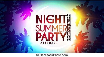 夏, やし, ライト, effects., デザイン, tropic, 夜, パーティー, 浜, template.