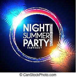 夏, やし, banner., ライト, 葉, effects., tropic, 夜, パーティー