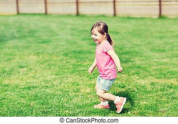 夏, わずかしか, フィールド, 動くこと, 緑, 女の子, 幸せ