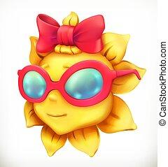夏, わずかしか, ベクトル, 女の子, sun., 楽しみ, 3d, アイコン