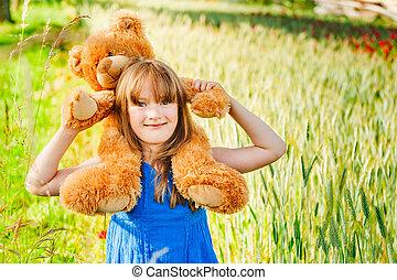 夏, わずかしか, 小麦, テディベア, フィールド, かわいい, 肖像画, 女の子, 遊び