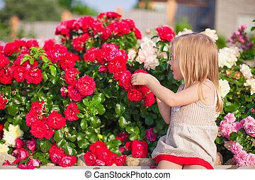 夏, わずかしか, 庭, カラフルである, においをかぐ, 女の子, 花, 日