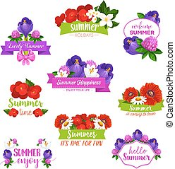 夏, アイコン, ベクトル, 花束, 咲く, 花