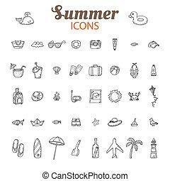 夏, アイコン, collection., set., 休暇, 手, ベクトル, 引かれる, 浜, アイコン