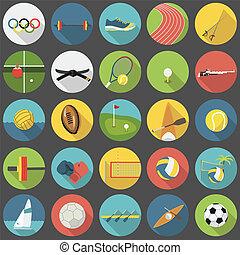 夏, オリンピック, セット, 平ら, スポーツ, 1, 部分, アイコン