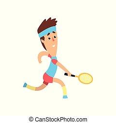 夏, オリンピック, ベクトル, 衝突, tournament., 面白い, game., 取得, テニス, 平ら, 手, 前方へ, 動くこと, 部分, デザイン, ラケット, 人, ball., 人
