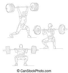 夏, オリンピック, set., 絶え間がない, 1(人・つ), ベクトル, 線, games., weightlifter
