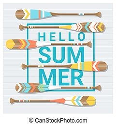 夏, カヌー, ペイントされた, かい, 背景, こんにちは