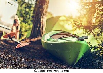 夏, カヤックを漕ぐ, 時間