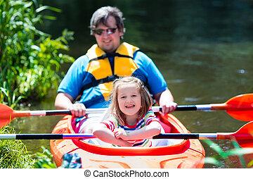 夏, カヤックを漕ぐ, 父, 子供