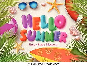 夏, カラフルである, テキスト, ベクトル, デザイン, 旗, こんにちは