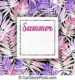 夏, カード, leaves., 挨拶, トロピカル, やし, 背景, 招待, パーティー, 休日, lettering.