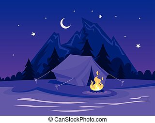 夏, キャンプファイヤー, 川, camp., テント