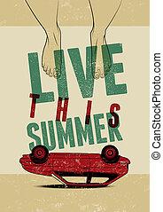 夏, グランジ, illustration., ポスター, 印刷である, ベクトル, レトロ, 型, design.