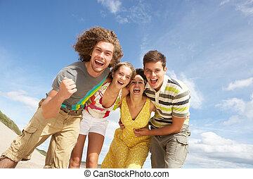 夏, グループ, 友人, 楽しみ, 浜, 持つこと