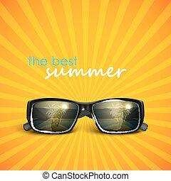 夏, サングラス, 反射。, 島, トロピカル, 背景