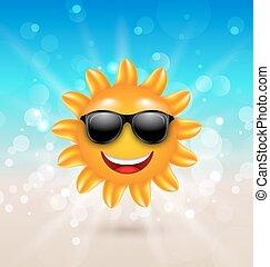 夏, サングラス, 太陽, 抽象的, 朗らかである, 背景, こんにちは