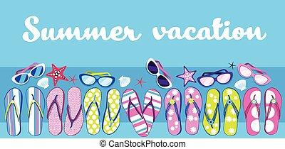 夏, サングラス, 浜, とんぼ返り, 休暇, トロピカル, 失敗, 旗