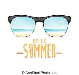 夏, サングラス, 海, 浜, こんにちは, reflexing