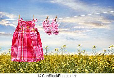 夏, サンダル, 服, 物干し綱