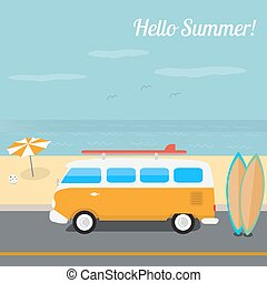 夏, サーフィン, 浜, 海洋