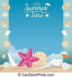 夏, シェルビーチ, 海