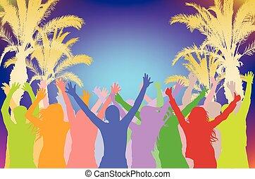 夏, シルエット, illustration., 群集, ダンス, 木。, 朗らかである, シルエット, ベクトル, やし, 背景, 浜 党