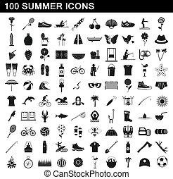 夏, スタイル, アイコン, セット, 単純である, 100