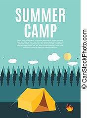 夏, スタイル, キャンプ, 自然, テキスト, 現代, 平ら, サンプル, 背景