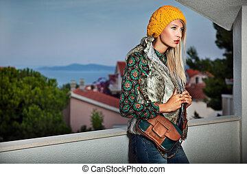 夏, スタイル, ファッション, 写真, 若い, 夕方, 女性