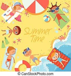 夏, スタイル, 浜。, グループ, sunbathing, 平坦な上面, time., ビュー。, 子供
