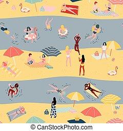 夏, スタイル, 浜。, 人々, パターン, seamless, 手, 背景, いたずら書き, 引かれる