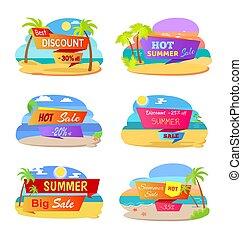 夏, ステッカー, セール, 昇進, 暑い, 浜