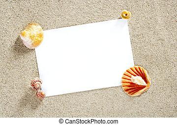 夏, スペース, 休暇, 砂のペーパー, ブランク, コピー, 浜