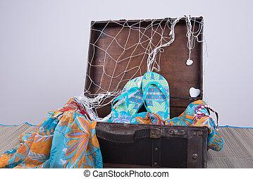 夏, スーツケース, 休暇, パックされた, 型